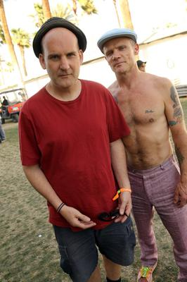 INDIO, CA - APRIL 14:  Musicians Ian MacKaye and Flea backstage during day 3 of the 2013 Coachella Valley Music & Arts Festival at the Empire Polo Club on April 14, 2013 in Indio, California.  (Photo by Karl Walter/Getty Images for Coachella)