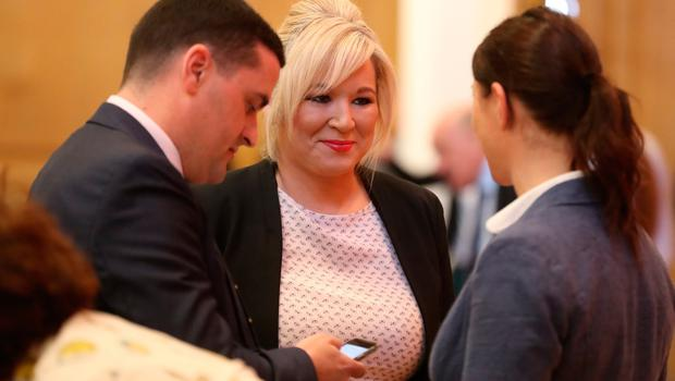 Sinn Fein's Michelle O'Neil arrives to hear Labour leader Jeremy Corbyn deliver a public lecture in the Great Hall at Queen's University Belfast. PRESS ASSOCIATION Photo. Picture date: Thursday May 24, 2018. Mr Corbyn urged Prime Minister Theresa May to reconvene the British Irish Intergovernmental Conference - a body that offers the Irish a consultative role in non-devolved matters concerning Northern Ireland. See PA story ULSTER Corbyn. Photo credit should read: Liam McBurney/PA Wire