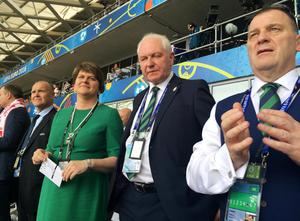 First Minister Arlene Foster with IFA President Jim Shaw and IFA Chief Executive Patrick Nelson at Poland V Northern Ireland in Nice, France. Photo by  Press Eye