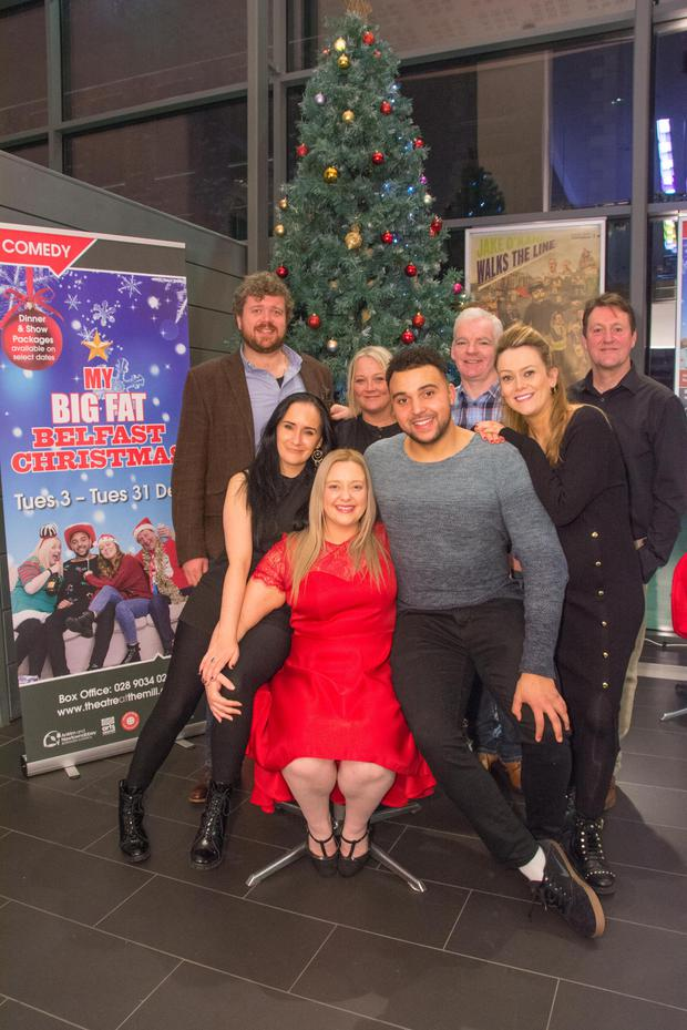 Rhodri Lewis (top left), husband of Julie Maxwell Lewis, and her father Jim McCann (second top left) with the cast of My Big Fat Belfast Christmas: Caroline Curran, Matthew Sharpe, Bernadette Brown, Abby McGibbon, Jimmy Doran and director Finn Kennedy (bottom left).