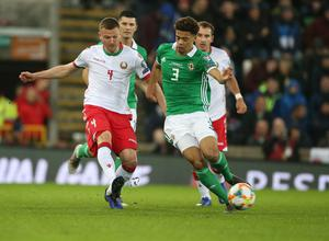PressEye-Northern Ireland- 24th March  2019-Picture by Brian Little/PressEye  Northern Ireland  Jamal Lewis   and Belarus Igor Shitov     during Sunday night's UEFA EURO 2020 qualifying match at the  National Football Stadium, Windsor Park,Belfast Picture by Brian Little/PressEye