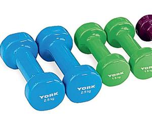 <b>York Vinyl Fitbell Kit in a Case </b><br/> This set of high-quality light weights includes three pairs of dumbbells in a handy carrying case for easy storage. The vinyl coating is a bit whiffy at first, but that soon wears off. A great way to develop strength, burn fat, increase power, endurance, core stability and balance.<br/> £24.99, amazon.co.uk
