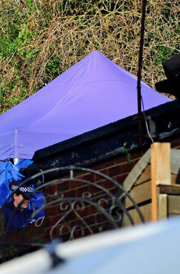 A police inspection tent in the back garden of the house in Erith, Kent, which is being searched by police officers in relation to the missing former Eastenders actress Sian Blake. Gareth Fuller/PA Wire