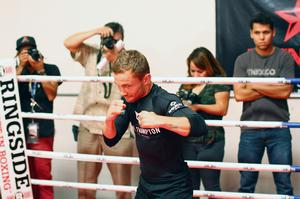 Press Eye - Belfast -  Northern Ireland - 15th July 2015 - Boxer Carl Frampton  (center, black) is pictured during an open training session in El Paso, Texas before  defending his IBF World title against Alejandro Gonzalez Jr on Saturday evening.  Picture by Jorge Salgado / Press Eye