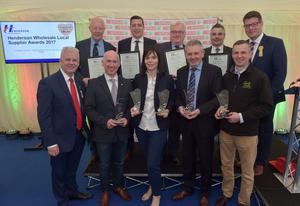 Winners and Highly Commended companies from the Henderson Wholesale Local Supplier Awards, including Daily Bake, K&G McAtamney, Irwins Bakery, Genesis Crafty, Around Noon, Hovis, Milgro and Moy Park, are pictured with Sales & Marketing Director Paddy Doody and Fresh Foods Director Neal Kelly from Henderson Wholesale. The awards took place today (Friday 12 May) at Balmoral Show, rewarding the produce and practices of the food producers, farmers and growers in Northern Ireland. Photo by Simon Graham