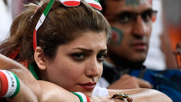 An Iran fan reacts after the Russia 2018 World Cup Group B football match between Iran and Portugal at the Mordovia Arena in Saransk on June 25, 2018.