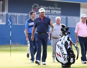 Graeme McDowell tees off in the Dubai Duty Free Irish Open Pro Am on Wednesday.