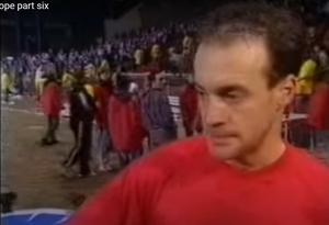 Shell-shocked: Linfield captain Lee Doherty can't hide his anger after the controversial 1993 defeat in Copenhagen, when the referee somehow found five extra minutes of 'injury time