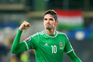 Northern Ireland's Kyle Lafferty celebrating in action during  Northern Ireland vs Hungary Picture - Kevin Scott / Presseye