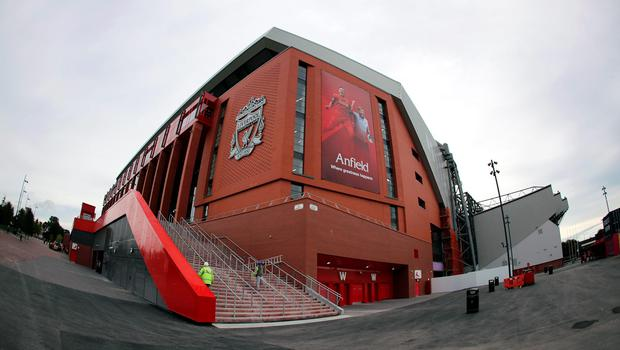 "A general view of the New Main Stand taken from outside Anfield, Liverpool. PRESS ASSOCIATION Photo. Picture date: Friday September 9, 2016. Photo credit should read: Peter Byrne/PA Wire. RESTRICTIONS: EDITORIAL USE ONLY No use with unauthorised audio, video, data, fixture lists, club/league logos or ""live"" services. Online in-match use limited to 75 images, no video emulation. No use in betting, games or single club/league/player publications."