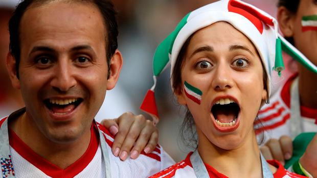 SARANSK, RUSSIA - JUNE 25:  Iran fans enjoy the pre match atmosphere prior to the 2018 FIFA World Cup Russia group B match between Iran and Portugal at Mordovia Arena on June 25, 2018 in Saransk, Russia.  (Photo by Clive Mason/Getty Images)