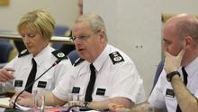 PSNI Chief Constable Simon Byrne, T/Assistant Chief Constable Barbara Gray Deputy and Deputy Chief Constable Mark Hamilton attend the Policing Board. Picture by PressEye