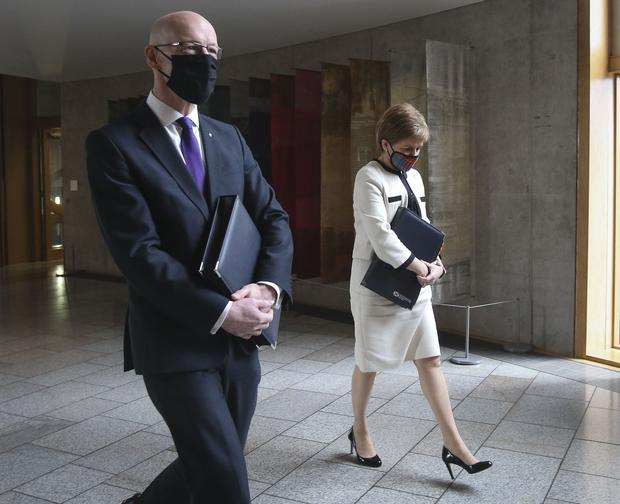 First Minister Nicola Sturgeon and Deputy First Minister John Swinney in the Scottish Parliament (Fraser Bremner/Scottish Daily Mail/PA)