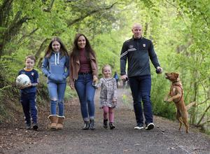 Paddy with his wife Claire, children Aimee, Padraig and Aoife and Derry the dog!