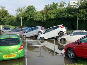 Flooding at Queen Victoria Hospital car park, in Kirkcaldy (Emma O'Neill/PA)