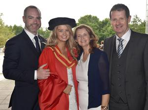 Ulster University Graduations-Coleraine Capmpus-05-07-15 Mark Boyle, Christina Geary who graduated with a Dr of Philosophy, Maureen Geary and Billy Geary. Photo by Simon Graham/Harrison Photography
