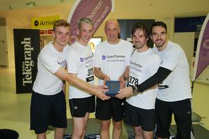 Press Eye - Belfast -  Northern Ireland - 24th June 2015 -  Richard Gillan from Grant Thornton with David Brennan, Peter Markwell, Damien Burns and Darren Clarke at the first ever Grant Thornton Runway Run at Belfast City Airport this evening. Picture by Kelvin Boyes / Press Eye.