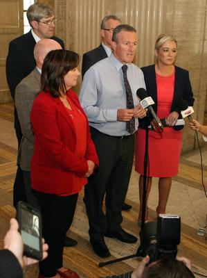 """Conor Murphy says that there is """"no logic or rationale"""" for suspending Stormont and confirmed that the party will be voting this afternoon to keep the institutions going. he is pictures at a party press conference at Storming this morning. Picture Matt Bohill Pacemaker."""