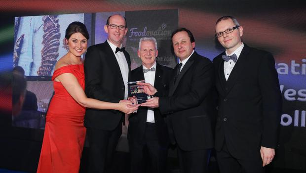 §Press Eye - Belfast - Northern Ireland - 2nd February 2017 -    NI Year of Food & Drink Awards at the Culloden Hotel.  Award 3  Growing for the Future  Sarah Travers, host of the NI Year of Food & Drink Awards is pictured with Paddy Doody from SPAR NI, presenting representatives from the North West Regional College with the Growing for the Future award for the Foodovation Centre. The inaugural awards celebrated the collaborative efforts of all from the food, drink and hospitality industry during the NI Year of Food & Drink 2016, with an gala awards evening at the Culloden Hotel. Pictured left to right: Sarah Travers, Brian McDermott, Paddy Doody from SPAR NI, Leo Murphy and Dr Fergal Tuffy.  Photo by Kelvin Boyes / Press Eye.