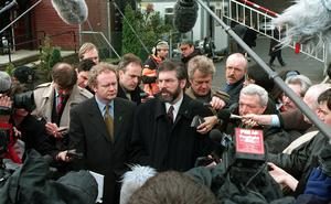 PACEMAKER BELFAST 08/04/98 Sinn Fein leaders Gerry Adams and Martin McGuinness talk to press and media men outside Castle Buildings this morning. PICTURE BY WILLIAM CHERRY/PACEMAKER PRESS
