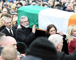 PACEMAKER BELFAST  23/03/2017 Gerry Adams during The Funeral of former Sinn Fein leader and deputy First Minister Martin McGuinness in the Bogside in Derry this afternoon. Mr McGuinness dies earlier this week after a short illness. At his funeral today Photo Colm Lenaghan/Pacemaker Press