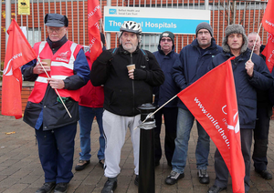 Health workers at the Royal Hospital in Belfast stage a four hour strike as part of an ongoing row over their wages