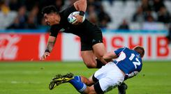New Zealand's Malakai Fekitoa (left) is halted by the tackle of Namibia's Johan Deysel (right) during the Rugby World Cup match at the Olympic Stadium, London.