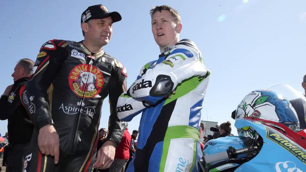 PACEMAKER, BELFAST, 17/5/2018: Michael Rutter and Dean Harrison on the grid during the second 2018 Vauxhall International North West 200 on Thursday. PICTURE BY STEPHEN DAVISON