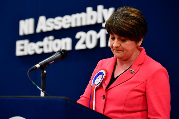 OMAGH, NORTHERN IRELAND - MARCH 03: Democratic Unionist party leader and former First Minister Arlene Foster makes her acceptance speech as the Northern Ireland Stormont election count takes place on March 3, 2017 in Omagh, Northern Ireland. Voters went to the polls yesterday for the second time in 10 months after the collapse of the power sharing executive government. (Photo by Charles McQuillan/Getty Images)