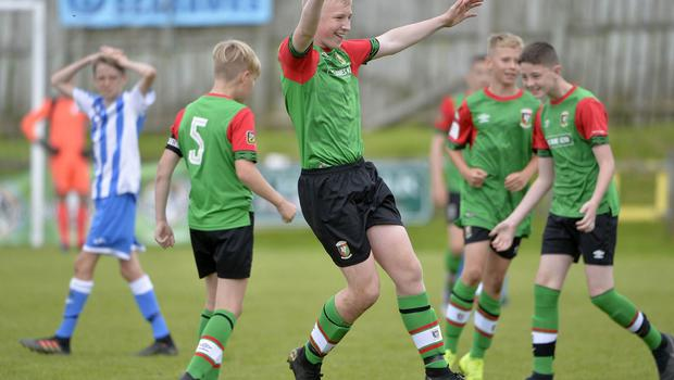 1st August 2019  Statsports Supercup NI 2019  Minor section semi final  match between Glentoran and Finn Harps at Seahaven in Portstewart. Glentoran players celebrate getting through to the final Mandatory Credit : Stephen  Hamilton/Presseye