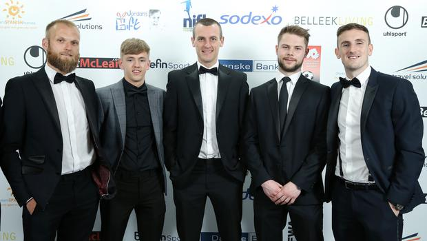 Press Eye - Belfast - Northern Ireland - 7th May 2018  -   NI Football Awards at the Crowne Plaza Hotel.  Gareth McConaghy, Ciaron Harkin, Oran Kearney, Chris Johns and Stephen O'Donnell pictured at the Awards.  Photo by Kelvin Boyes / Press Eye