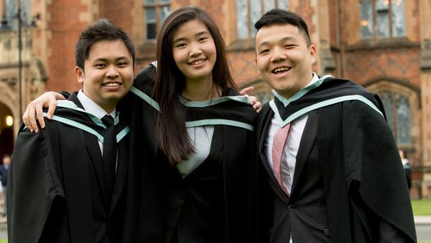 Celebrating graduation success from Queens University Belfast include (L-R): Jian En Tan, Michelle Wee Chai Yee and Chong Hong Kiat who are all from Malaysia and graduated with a degree in Law.