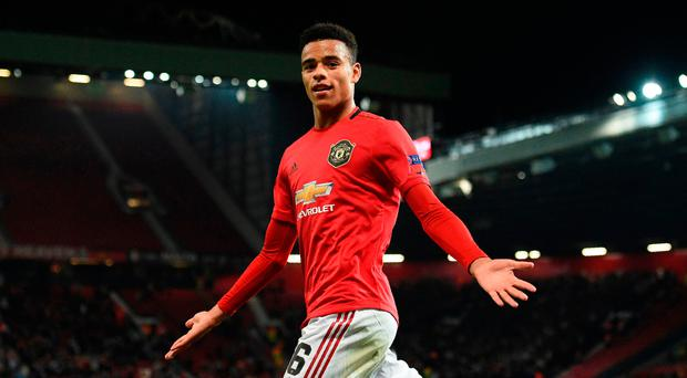 Rising star: Mason Greenwood celebrates his decisive strike