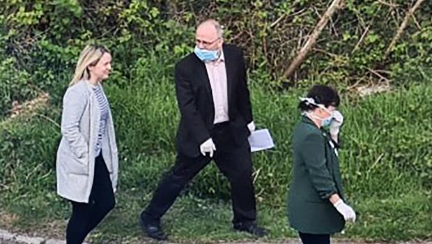 Barry McElduff and colleagues during the video shoot