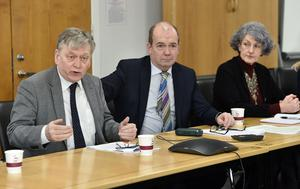 Dr Michael McBride (Chief Medical Officer), with  Dr Miriam McCarthy ( Director of Commissioning HSCB)  and Dr Gerry Waldron (Head of Health Protection)   during an  update to the media  about the Coronavirus in Northern Ireland, at the Public Health Agency Head Quarters in Belfast on Tuesday. Photo Colm Lenaghan/Pacemaker Press