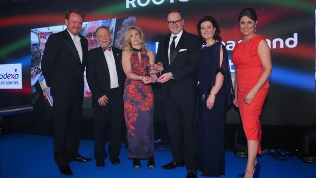 Press Eye - Belfast - Northern Ireland - 2nd February 2017 -    NI Year of Food & Drink Awards at the Culloden Hotel.  Award 6 Roots to Market  Sarah Travers, host of the NI Year of Food & Drink Awards is pictured with Suzanne Pollock from Sodexo, presenting Armagh City, Banbridge and Craigavon Borough Council with the Roots to Market award for their Food Heartland Initiative. The inaugural awards celebrated the collaborative efforts of all from the food, drink and hospitality industry during the NI Year of Food & Drink 2016, with an gala awards evening at the Culloden Hotel.  Pictured left to right: Colin McCusker, Brian Irwin, Suzanne Pollock from Sodexo, Roger Wilson, Sarah Jane Macdonald and Sarah Travers.   Photo by Kelvin Boyes / Press Eye.