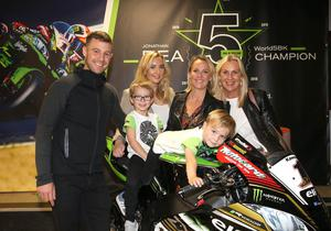 Jonathan with his wife Tatia and sons Jake and Tyler, sister Chloe and mum, Claire. Photo by Stephen Davison/Pacemaker Press
