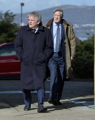 Sports Journalist Adrian Logan arrives for Barney Eastwood's funeral at Colmcille's Church in Holywood, Co Down.  Friday 13th  March 2020