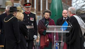 The Princess Royal during the 25th anniversary service of the Warrington bombing, on Bridge Street, attended by the families of victims of the attack, faith leaders and representatives of the British and Irish governments. PRESS ASSOCIATION Photo. Picture date: Tuesday March 20, 2018. See PA story MEMORIAL Warrington. Photo credit should read: Peter Byrne/PA Wire
