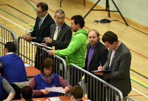 Press Eye - Belfast - Northern Ireland - 3 March 2017 - NI Assembly Election 2017 Count at Aurora Leisure Complex in Bangor for Strangford and North Down constituencies. Steven Agnew (second right) leader of the    Green Party watching the verification of the North Down vote. Photo by Brian Little / Press Eye.