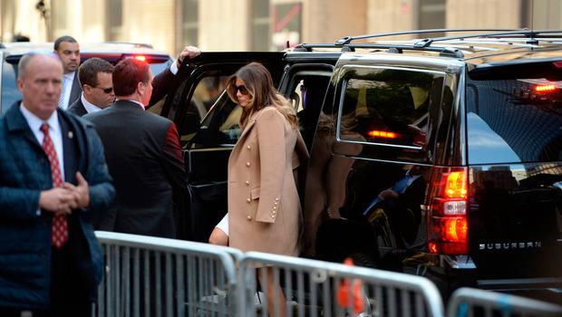 Melania Trump, wife of Republician presidential nominee Donald Trump arrives with her husband(not seen) at a polling station in New York to cast his ballot in the presidential election  November 8, 2016. AFP/Getty Images