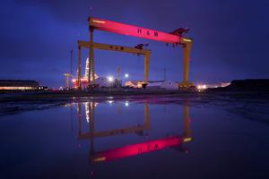 The iconic Harland & Wolff cranes, which have dominated the east Belfast skyline for decades, are due for a Giro makeover, starting tonight. At 9pm on Tuesday 6th May, Goliath turned pink to celebrate the forthcoming start of the 2014 Giro DItalia in Belfast. The once in a lifetime lighting event created by NITB and partners will be visible each night until Sunday 11th May.  Picture by Brian Morrison.