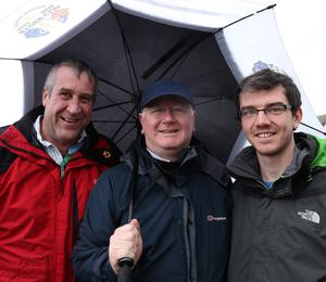 @Press Eye Ltd Northern Ireland- 15th   May   2014 Mandatory Credit -Brian Little/Presseye  (l-r) John, Paul and Tim Johnston from Portstewart  spectating  at the Vauxhall International 2014  North West 200.  Picture by  Brian Little/Presseye