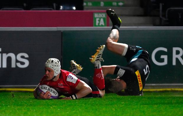 Michael Lowry crosses for Ulster's fourth try against Harlequins in their Challenge Cup last-16 tie at Twickenham Stoop (Mike Hewitt/Getty Images)