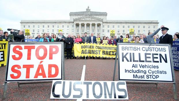 Press Eye Belfast - Northern Ireland 29th March 2017  Border Communities Against BREXIT hold a protest at Stormont on the day Article 50 is triggered by the Prime Minister Theresa May and sees the beginning the UK's departure from the European Union.   Picture by Jonathan Porter/PressEye.com