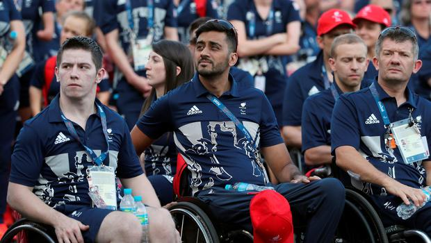 Paralympic GB athletes, including wheelchair rugby players Jamie Stead (left), Mandip Sehmi (centre) and Alan Ash (right) during the Paralympics GB Welcome Ceremony at the Athletes Village ahead of the 2016 Rio Paralympic Games, Brazil. PRESS ASSOCIATION Photo. Picture date: Sunday September 4, 2016. Photo credit should read: Andrew Matthews/PA Wire. EDITORIAL USE ONLY