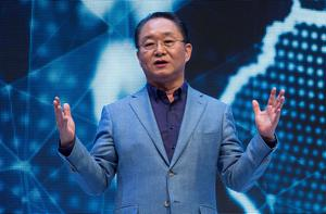 Eom Young-Hoon, President and CEO of Samsung Electronics Europe speaks during Samsung's presentation at the 55th IFA (Internationale Funkausstellung) electronics trade fair in Berlin on September 3, 2015.  IFA, Europe's largest consumer electronics and home appliances fair opens from September 4 to September 9, 2015.  AFP PHOTO / JOHN MACDOUGALLJOHN MACDOUGALL/AFP/Getty Images