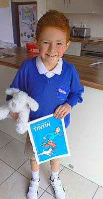 Charlie O'Rourke, age 8, from Belfast dressed as TinTin