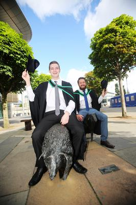 Graduating from Ulster University today is Sean Mc Conille and Adam Mc Keenan fboth from Portadown with a degree in BSC Physiotherapy . Pic by Paul Moane / Aurora PA