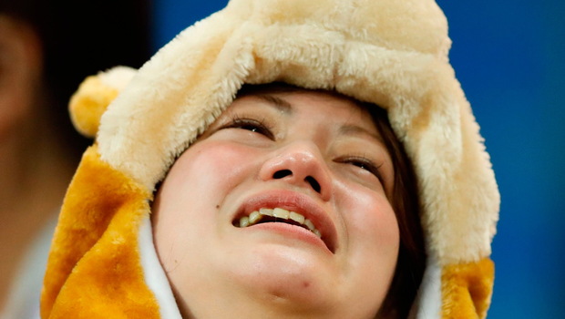 A Japan's fan reacts at the end of the Russia 2018 World Cup round of 16 football match between Belgium and Japan at the Rostov Arena in Rostov-On-Don on July 2, 2018. Belgium won 3-2.